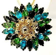Emerald & Teal Rhinestone with Gold Accents Converted Brooch to Pendant Necklace - $114.46