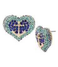 BETSEY JOHNSON ANCHORS AWAY ANCHOR PAVE HEART STUD EARRINGS NWT - $23.22