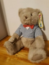Vintage 1987 Bialosky By Gund Grey Jointed Teddy BEAR pinstriped shirt red tie - $46.75
