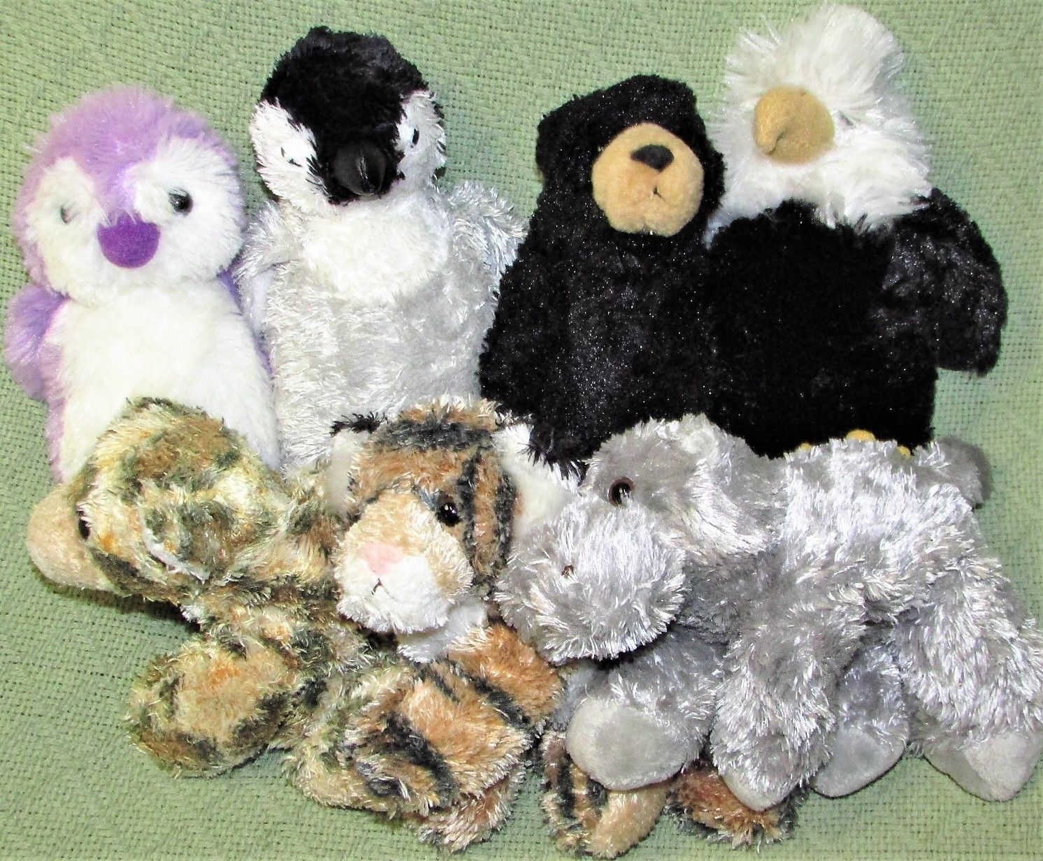 Primary image for AURORA World FLOPSIES Mini Plush Stuffed Animals EAGLE Penguin LEOPARD Tiger LOT