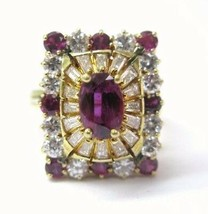 Ruby & Diamond Ballerina Ring 18Kt Yellow Gold 3.15Ct F-VS1 SIZEABLE - $2,754.53