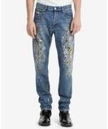Calvin Klein Jeans NWT Mens Iconic Slim-Fit Paint-Splatter Jeans Blue 32... - $54.40
