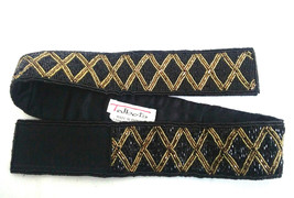 Talbots Womens S Black Gold Beaded Adjustable Waist Belt Geometric - $14.26