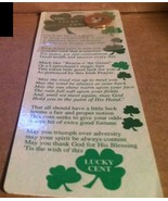 NIP 1994 THE LUCKY CENT Bookmark By INSPIRATIONS Lucky Penny w/ Clover C... - $5.24