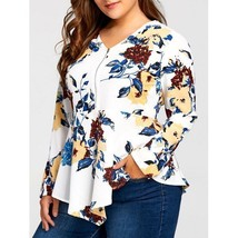 Ladies Plus Size White & Floral Long Sleeve Blouse Fashionable Top 3X 4X 5X - $25.99