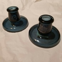 Pair of IKEA Glass Cobalt Blue Candle Holder Designed By Maria Kariis - $13.54