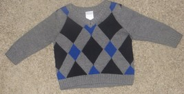 Gymboree Best in Blue Argyle V-Neck Sweater Size 3-6 3 6 Months - $12.19