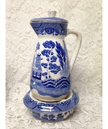 Vintage, Rare, Made in Japan, 10inx5in Blue Willow Carafe with Warmer 3i... - $189.95