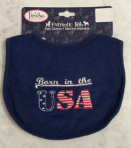 "Frenchie Red White And Blue ""Born In The USA"" Baby Bib Feeder Bib - $3.99"