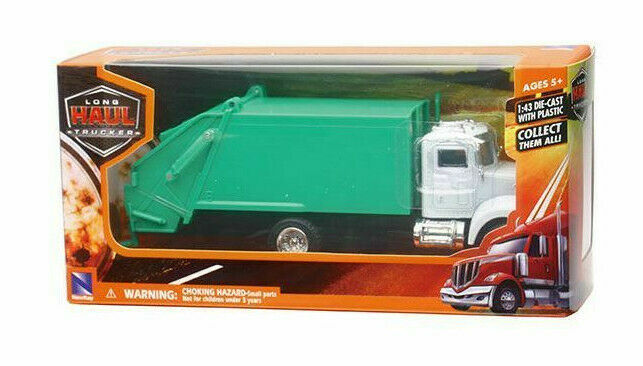 Primary image for New Ray Garbage Truck Diecast & Plastic White Cab Green Body 1:43 Scale NIB