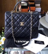 AUTH CHANEL BLACK QUILTED LAMBSKIN LARGE TRENDY CC 2 WAY HANDLE FLAP BAG