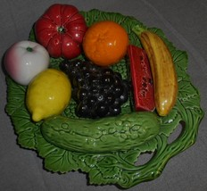 Vintage MAJOLICA Fruit and Vegetable Tray MADE IN PORTUGAL #154/7 - $39.59
