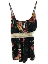 Rue 21 + Tank Top 2X Floral Black Strappy Crochet Flowy NWT MM64 - $15.48