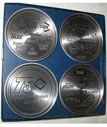 4 Set 1988 Clorox 75th Anniversary Memento Pewter Coasters U.S.A - $18.86