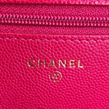100% AUTH CHANEL HOT PINK Caviar Leather WOC Wallet on Chain WOC Bag GHW image 8