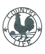 """Galvanized ROOSTER Wall Decor Country Americana 24"""" Silver Metal Round P... - $32.71"""