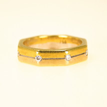 18k Gold Vintage Octagon wedding Band Ring With diamonds UK size N BHS - $881.29