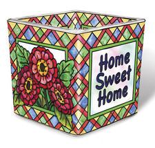 Home Sweet Home Tea Light Candle Holder Votive Hand Painted Glass AMIA F... - $16.82