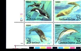 USPS Plate block of 4 Marine Mammals 25c Sea Lion, Sea Otter, Killer Wha... - $2.20