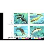 USPS Plate block of 4 Marine Mammals 25c Sea Lion, Sea Otter, Killer Wha... - $2.20