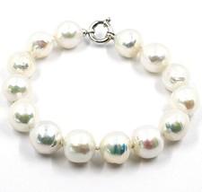 Pulsera Oro Blanco 18Ct, Perlas Grandes 13 mm, Blancas, Freshwater, Barroco - $245.99