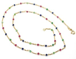 18K YELLOW GOLD NECKLACE, BLUE RED AND GREEN FACETED CUBIC ZIRCONIA, ROLO CHAIN image 1
