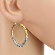 Trendy Tri-Color Silver, Gold & Rose Tone Hoop Earrings- United Elegance - $14.99