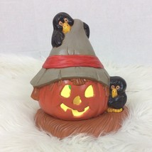 "Vintage Halloween Decoration Jack O Lantern Crows Lighted Ceramic Mold 9"" H - $51.41"