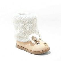 Cat & Jack Toddler Girls Cream Tan Kelli LLAMA Face Faux Fur Winter Boots 10 NWT