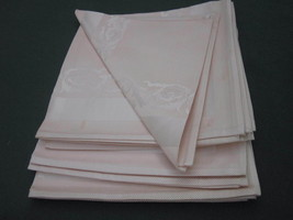 PALE PINK DAMASK NAPKINS Set of 8 NEW VINTAGE WITH SOME SMALL SPOTS JAPA... - $9.49