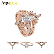 New Stone set rings 3pc ring set for lady wedding gift 2018 delicate ros... - $26.62
