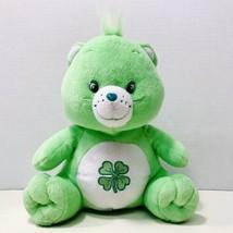 Care Bears Good Luck Bear Sitting Mint Green Shamrock Stuffed Plush 2003... - $12.95