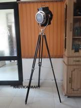 Vintage Floor Lamp Wooden Tripod Corner Shade  Search Light   - $299.00