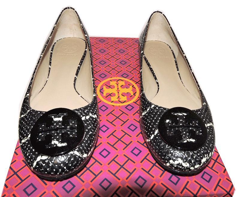 b84803f9aa336 Tory Burch Reva Ballerina Flats Snake Print Leather Ballet Shoe Black 9.5-  39.5 -  178.00