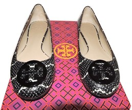 Tory Burch Reva Ballerina Flats Snake Print Leather Ballet Shoe Black  9... - $178.00