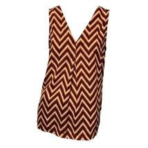 Pleione Womens Red Black Chevron Print V-Neck Casual Sleeveless Tank Top... - $11.88