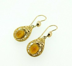 English 9k Gold Genuine Natural Citrine Earrings Filigree and Leaves (#J... - $250.00