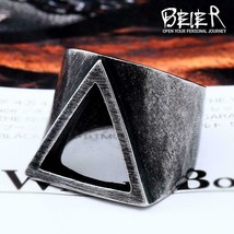 Beier new store 316L Stainless Steel viking Triangle graphics fashion me... - $7.99