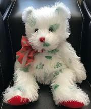 Retired 2005 Punkies Ty SANTA CLAWS Plush White Fuzzy Bear w/Ribbon Gree... - $14.84