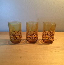 Vintage 70s Libbey Golden Wheat amber juice glasses- set of 3 image 2