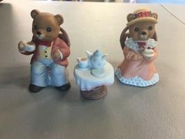 Homco Porcelain Teddy Bears Having Tea Figurines 1401 AA151 - $11.64