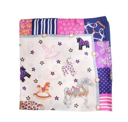 Delicate Pretty Baby Neck Scarf Silk Cute Horse Kerchief Multicolor 20.420.4''