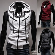 Men s sleeveless hooodie jacket shirt zip - $47.94