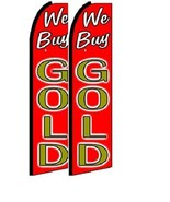 We Buy Gold  King Size Polyester Swooper Flag Pack  of 2 (HARDWARE NO IN... - $31.67