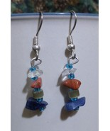 Iridescent Blue and Natural Stone Earrings - $15.00