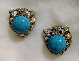 Turquoise Filagree West Germany Earrings - $22.88