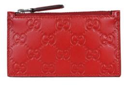 New Gucci 435366 Red Leather GG Guccissima Zip Top Slim Small Card Case ... - $345.48