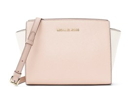NWT MICHAEL KORS SELMA MEDIUM SAFFIANO LEATHER MESSENGER BAG PINK - $154.79