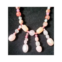 Bib Handmade OOAK Necklace #3s Strawberry Agate, Pink Opal, Rose Agate, Jasper a - $31.44