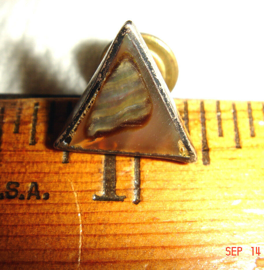 VTG MODERNIST SHARP DRESSED MAN 925 STERLING SILVER ABALONE TIE TACK COLLAR PIN